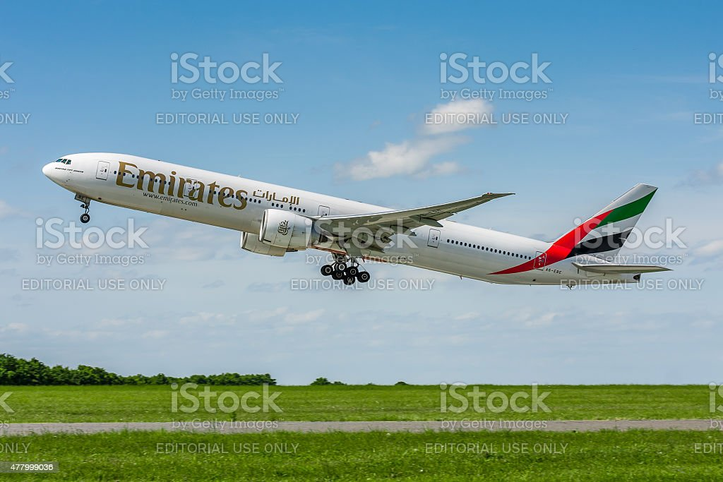 Emirates Airlines Boeing 777 stock photo
