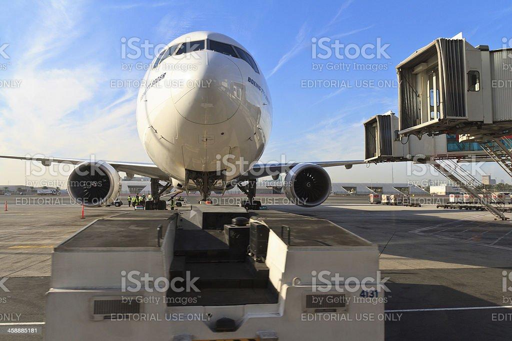 Emirates Boeing 777 at Dubai Airport royalty-free stock photo