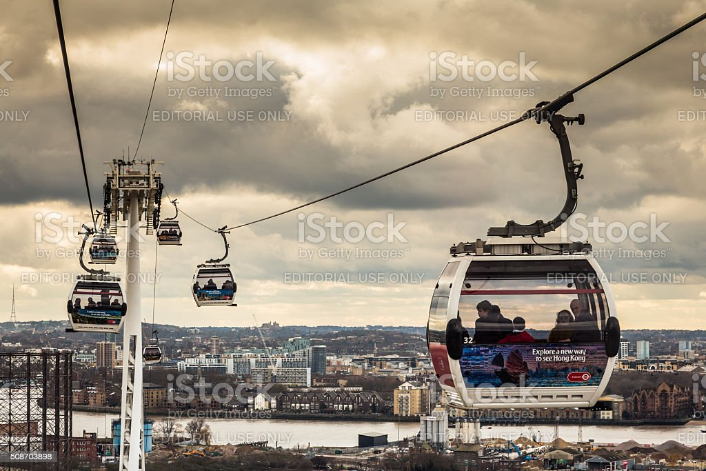 Emirates Cable Cars above River Thames, Greenwich, London, UK stock photo