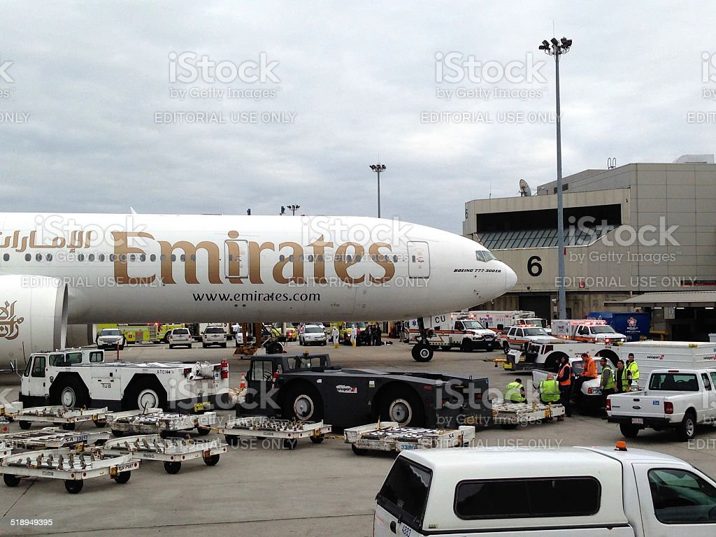 Emirates flight EK 237 under quarantine at Boston airport stock photo