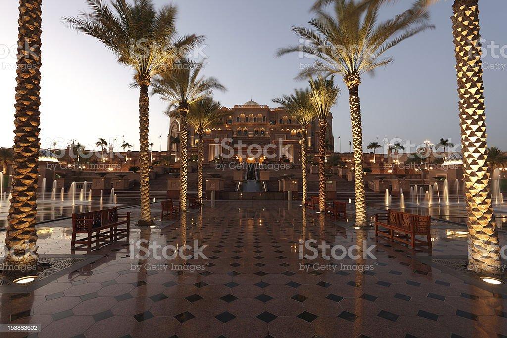 Emirates Palace in Abu Dhabi at dusk stock photo