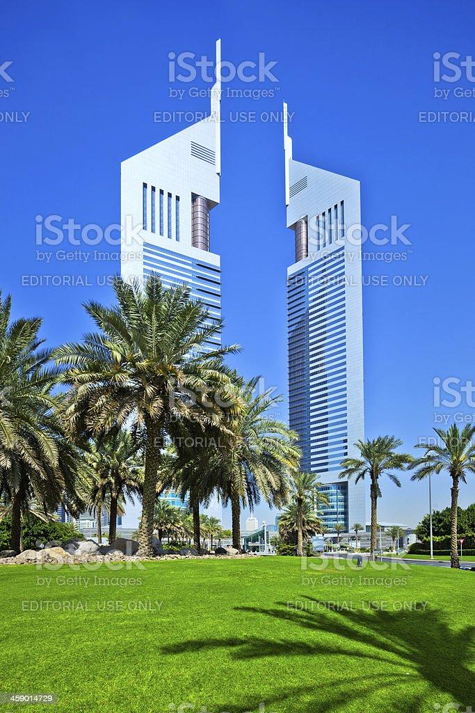 Emirates Towers Dubai stock photo