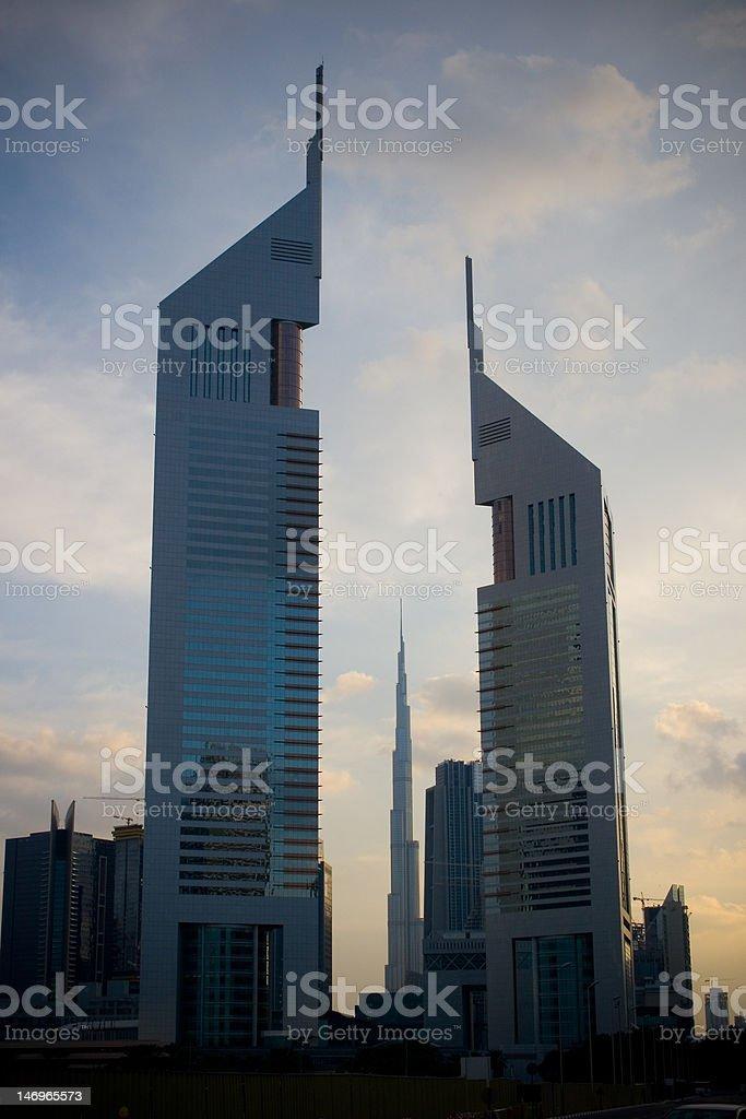 Emirates Towers on nightfall stock photo