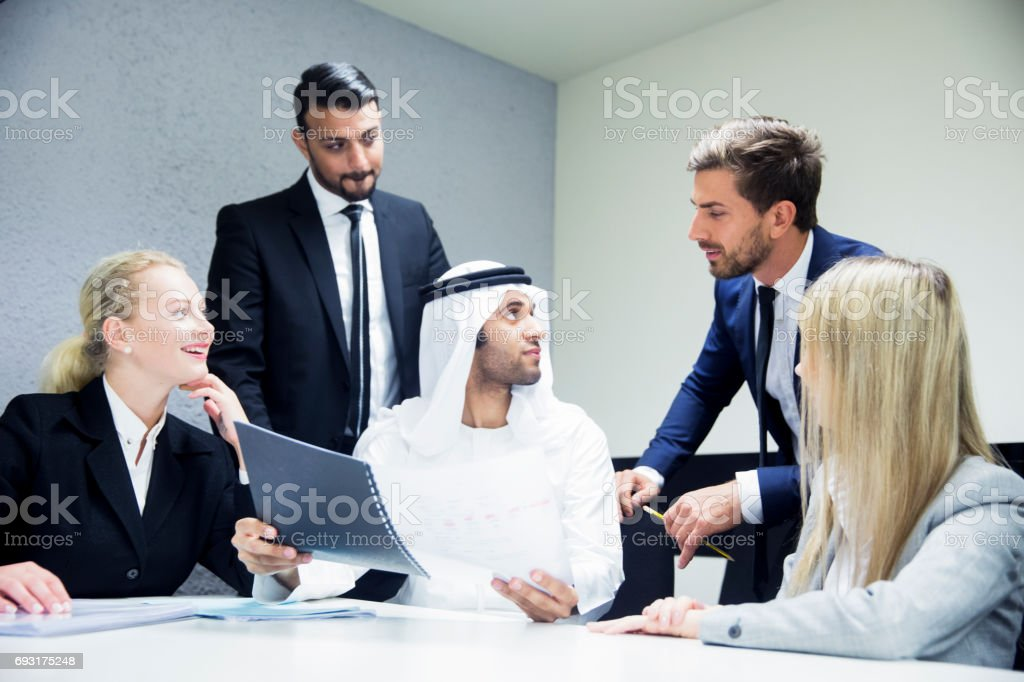 Emirati Businessman angry over the contents of document stock photo