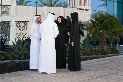 471250190 istock photo Emirati Businessmen and Businesswomen Meeting Outside Office Building, Dubai, UAE 497352150
