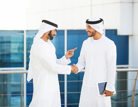 471250190 istock photo Emirati Businessmen Meeting Outside Office 499753918