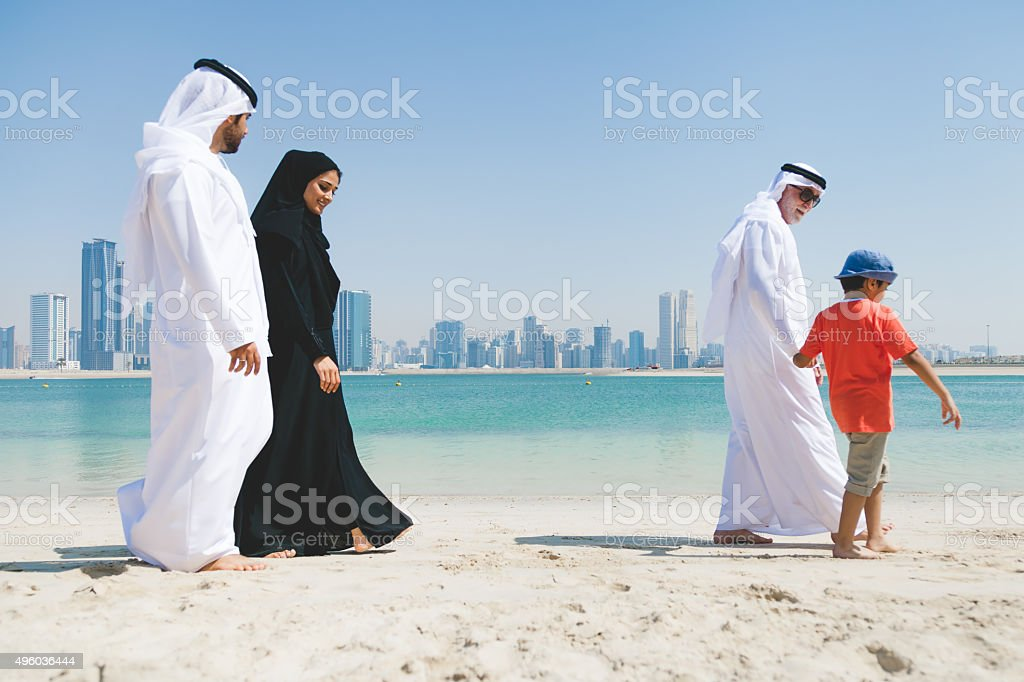 Emirati Family Enjoying at Beach stock photo