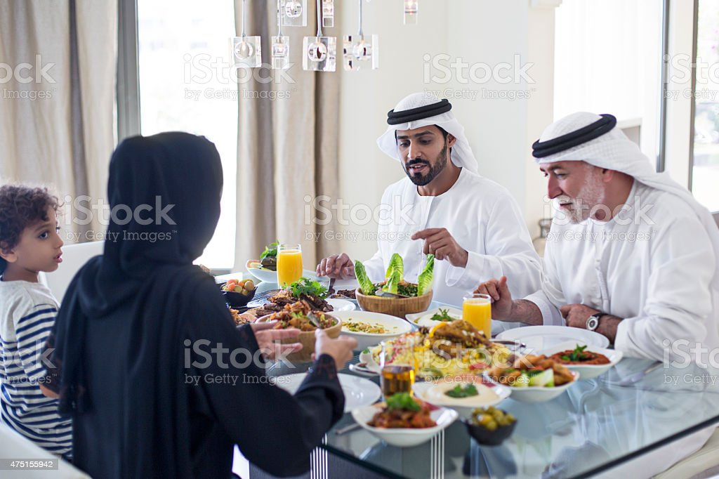 Emirati family lunch stock photo