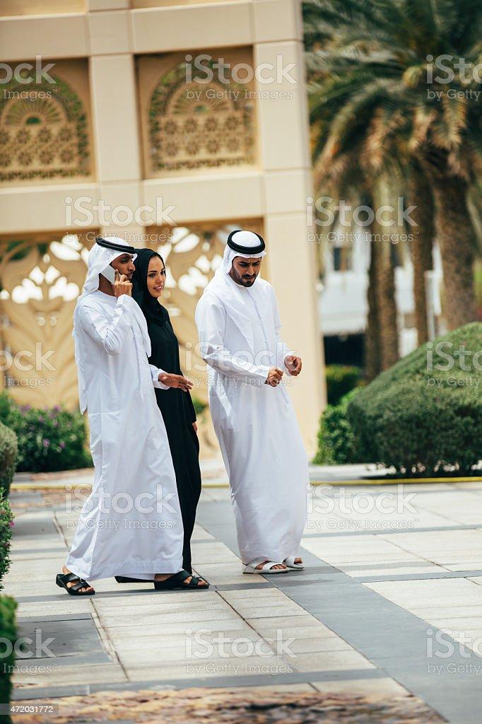 Emirati outdoors business meeting stock photo