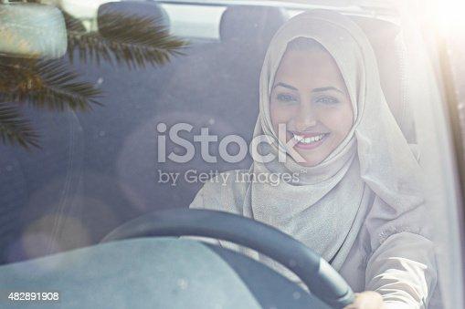 istock Emirati woman driving a car 482891908