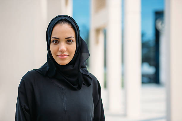 Emirati woman Portrait of young woman in traditional arabic clothes. arabia stock pictures, royalty-free photos & images