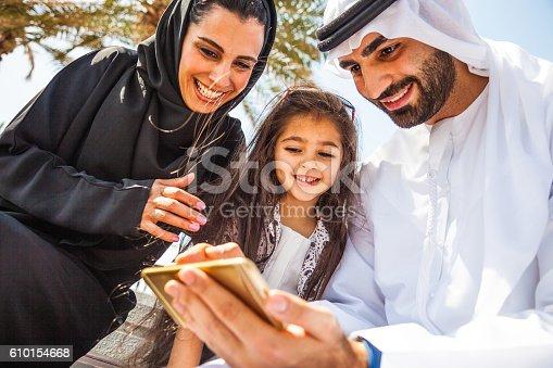 472869308 istock photo Emirati young family in Dubai enjoying weekend 610154668