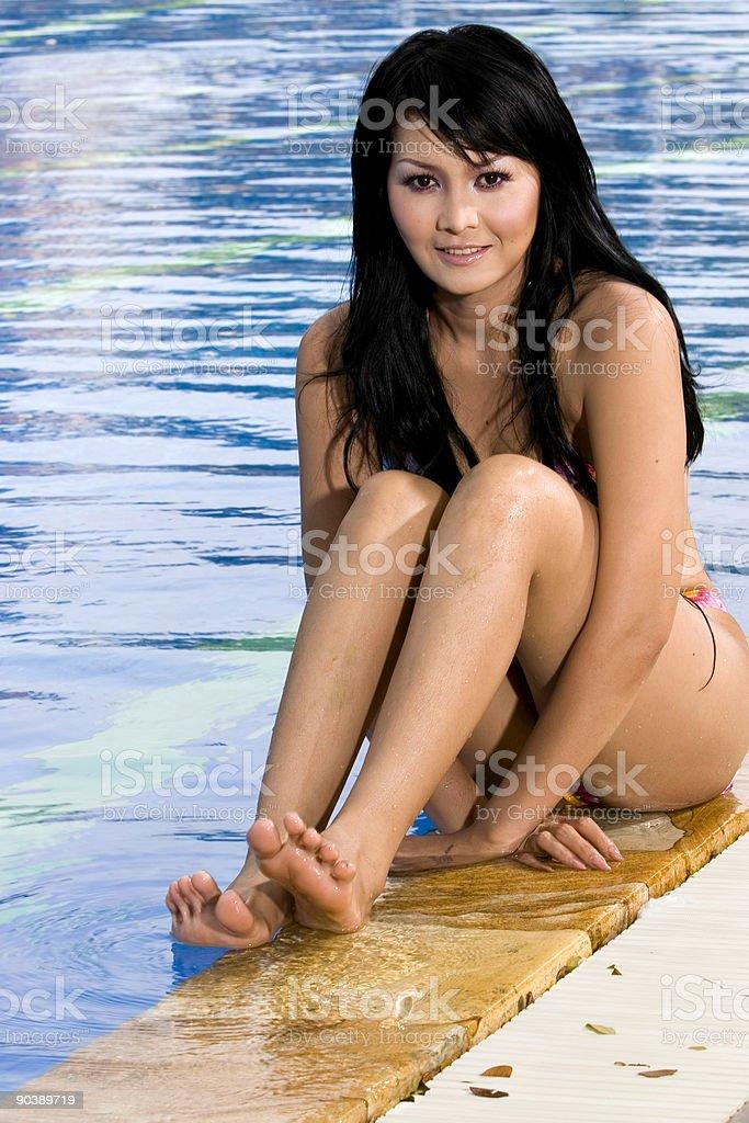 Emma on Poolside 01 royalty-free stock photo