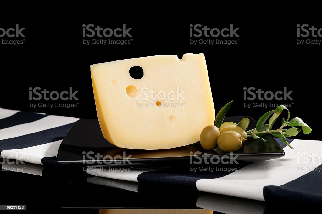 Emmental cheese still life. stock photo