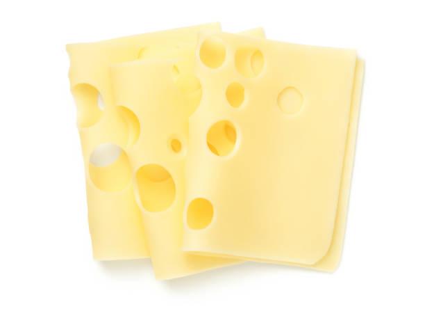emmentaler cheese slices isolated on white background - emmentaler foto e immagini stock