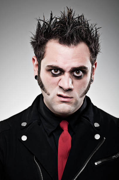 emo goth portrait - punk music stock photos and pictures