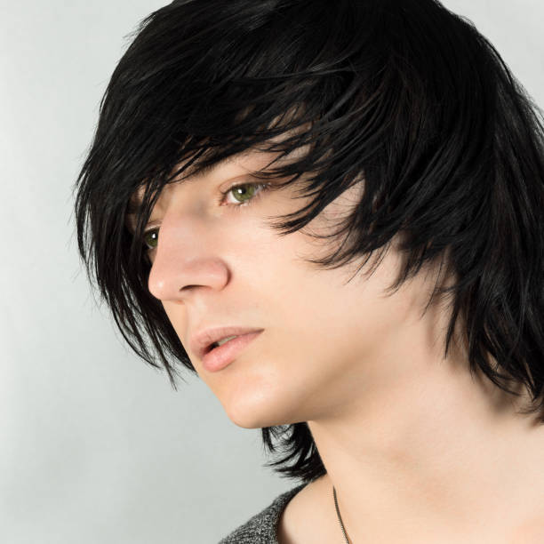 emo hairstyle for boys stock photo