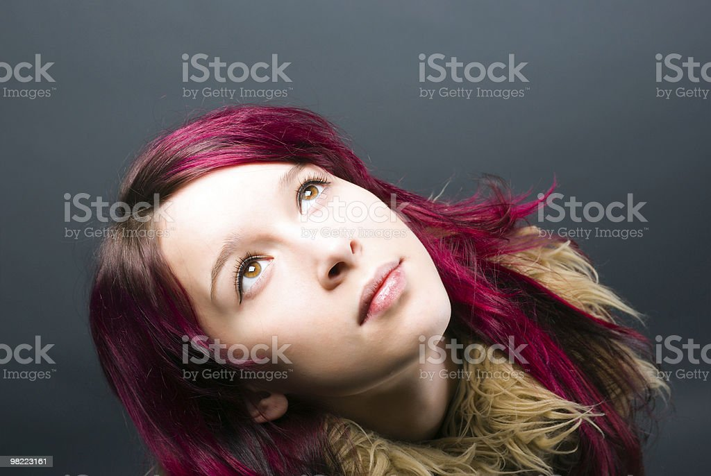 Emo look   girl with red hair royalty-free stock photo