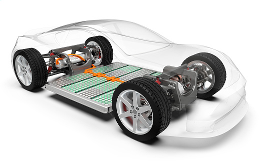 Modern electric car with battery, x-ray vehicle chassis, 3D rendering