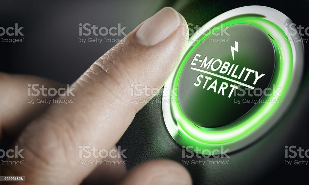 E-Mobility, Green Car Start Button stock photo