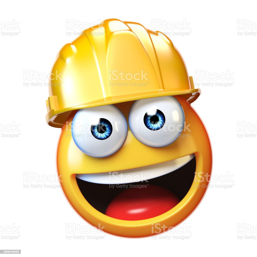 Emoji construction worker isolated on white background, emoticon wearing hard hat 3d rendering stock photo