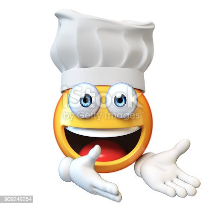 istock Emoji cook isolated on white background,emoticon restaurant chef 3d rendering 909246254