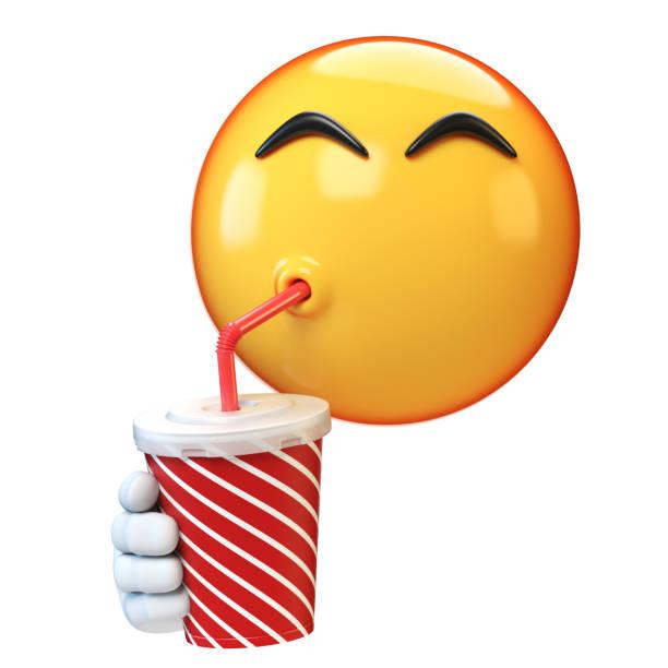 Emoji drinking soda isolated on white background stock photo