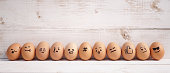 istock emoji eggs with selective focus on the hashtag sign (#) surrounded with the emojis. Emoji is expression stickers used in the chat application & social media. Emoji is the 2019 trends. 1125704021