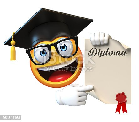 istock Emoji graduate student isolated on white background,emoticon wearing graduation cap 961344468