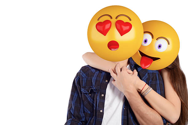 emoji head man and woman. beautiful couple. - excited emoji stock photos and pictures