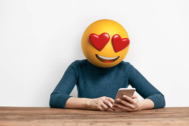 Emoji Head Woman using smart phone - Photo