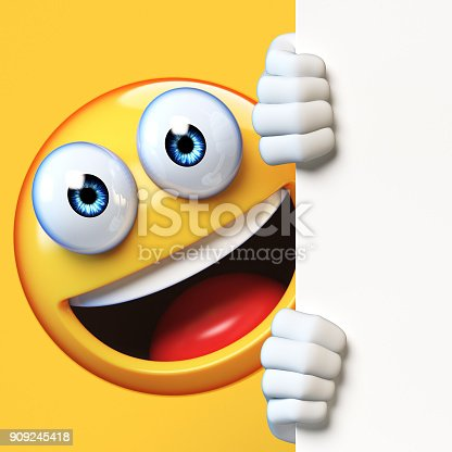 istock Emoji holding blank board isolated on white background, emoticon advertiser 3d rendering 909245418
