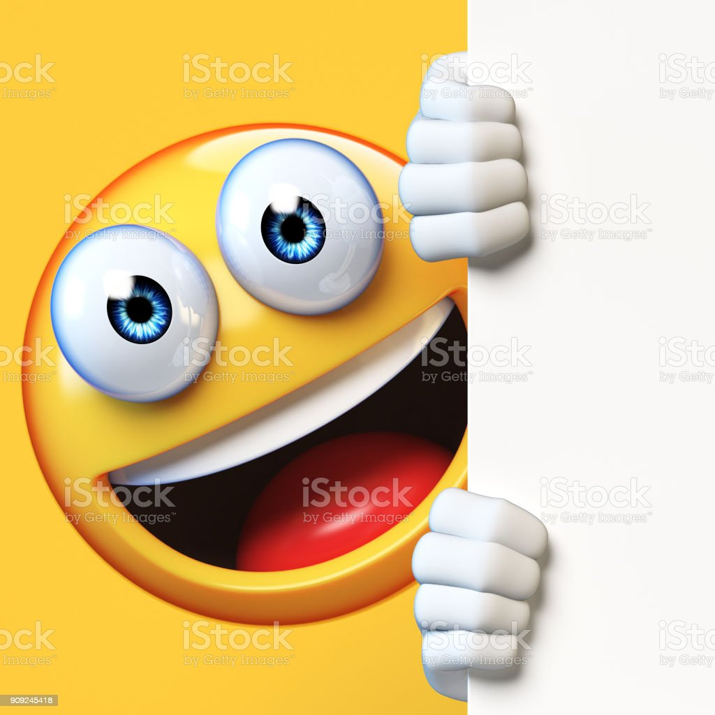 Emoji holding blank board isolated on white background, emoticon advertiser 3d rendering stock photo