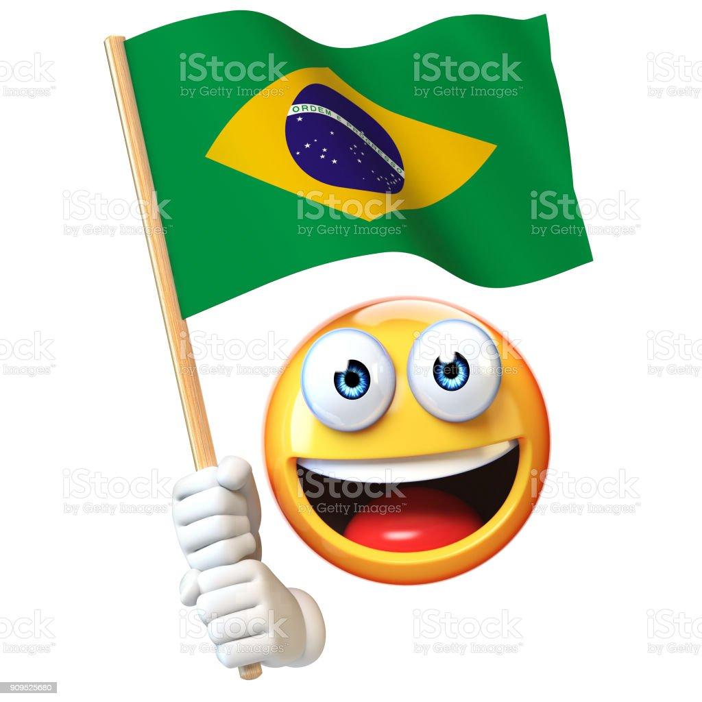 Emoji segurando a bandeira brasileira, emoticon acenando a bandeira nacional do Brasil renderização em 3d - foto de acervo