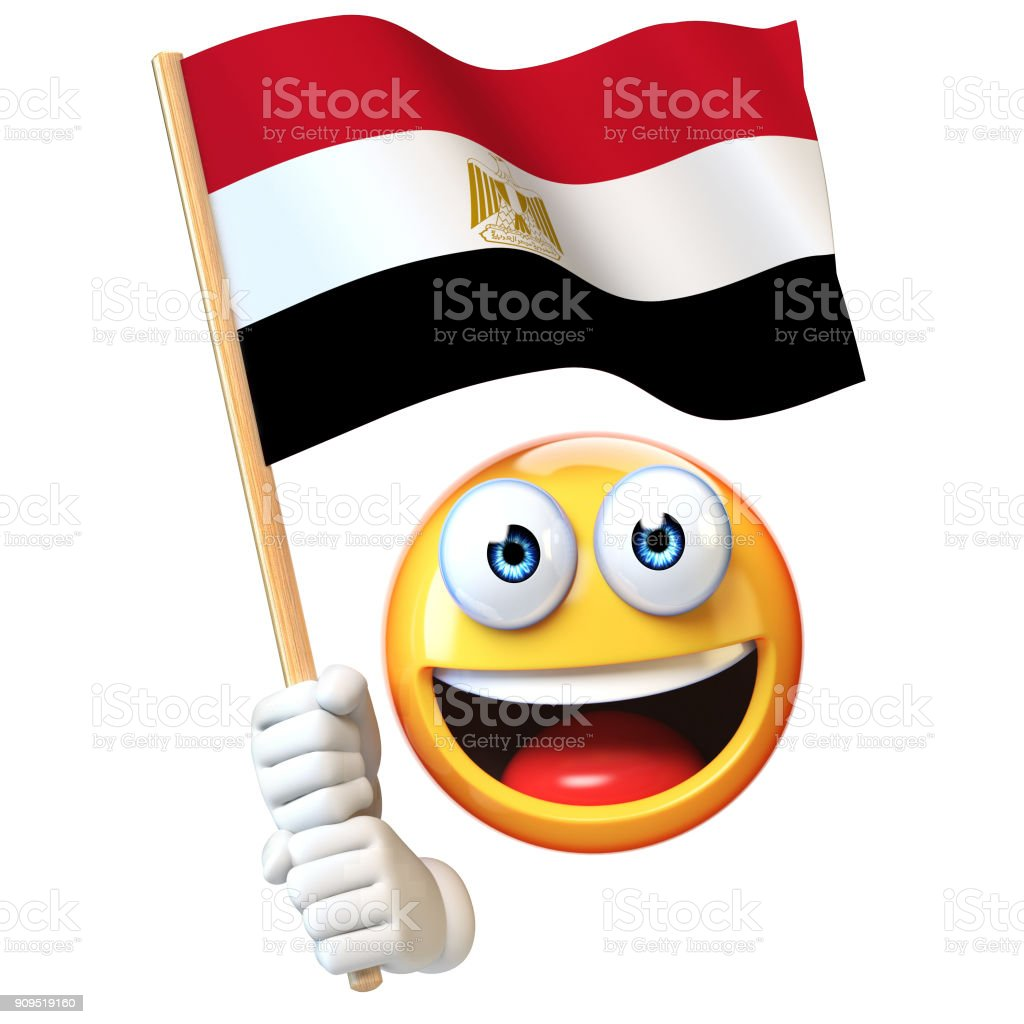 Emoji bandera egipcia, emoticon ondeando la bandera nacional de Egipto render 3d - foto de stock