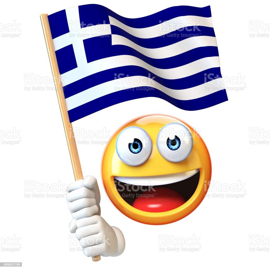 Emoji Holding Greek Flag Emoticon Waving National Flag Of Greece ...