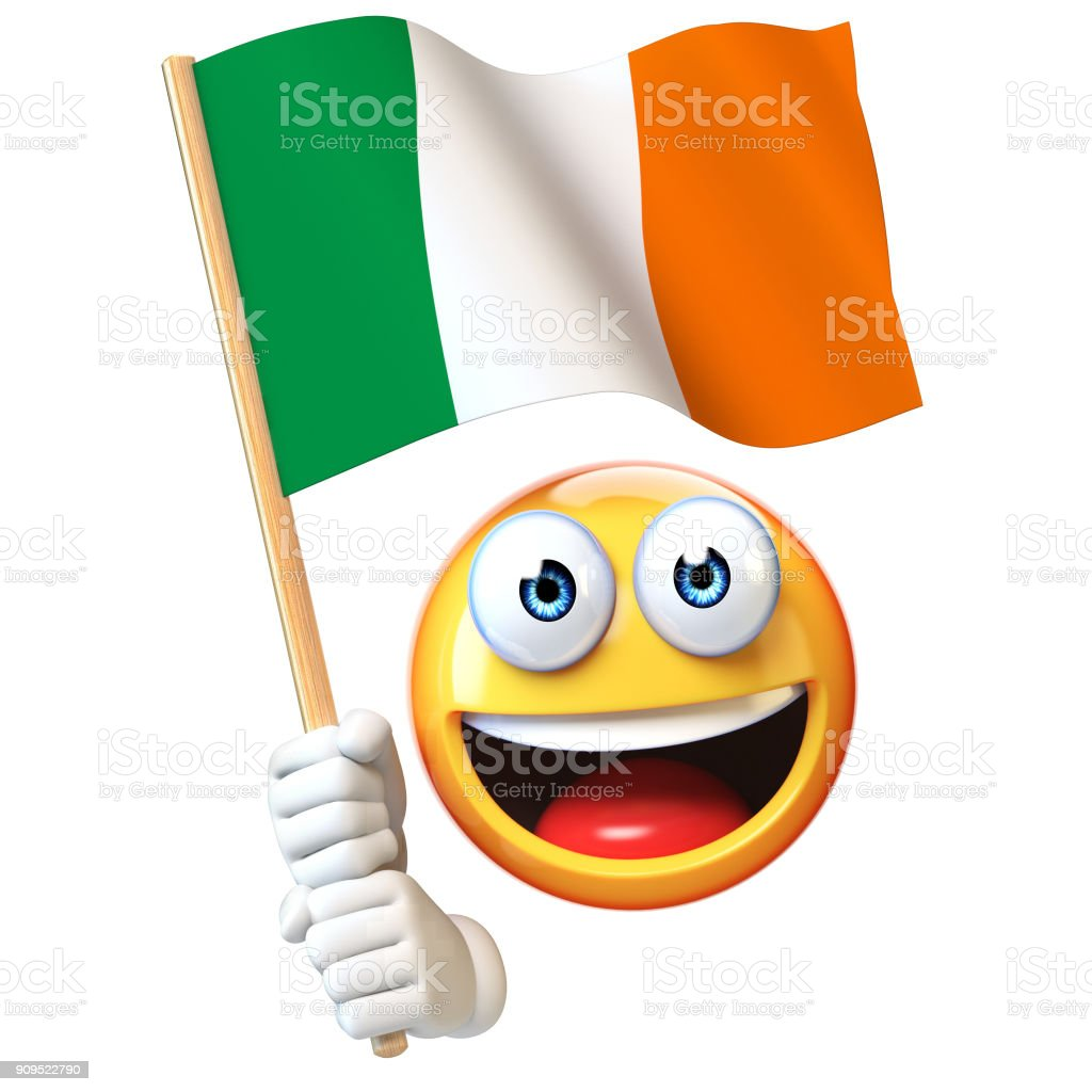 Emoji Holding Irish Flag Emoticon Waving National Flag Of Ireland 3d Rendering Stock Photo Download Image Now Istock