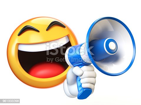 istock Emoji holding loudspeaker isolated on white background 961333268