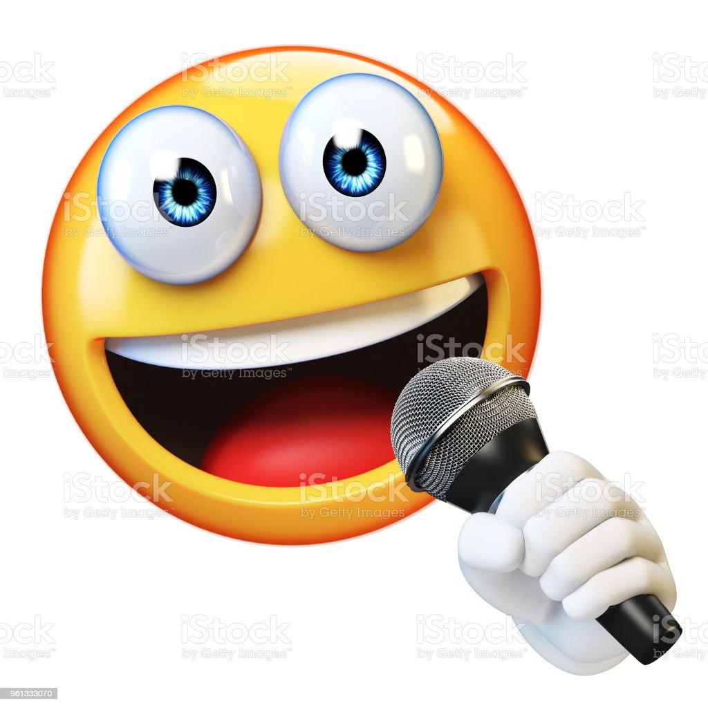 Emoji holding microphone isolated on white background stock photo