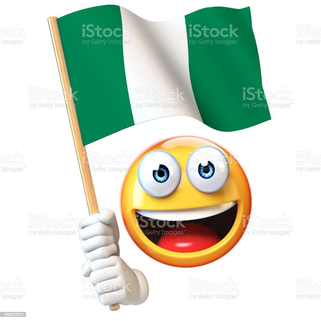 Emoji bandera nigeriana, emoticon ondeando la bandera nacional de Nigeria render 3d - foto de stock