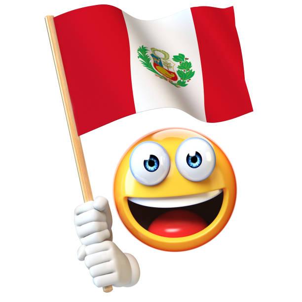 Bandera peruana, emoticon ondeando la bandera nacional del Perú render 3d Emoji - foto de stock