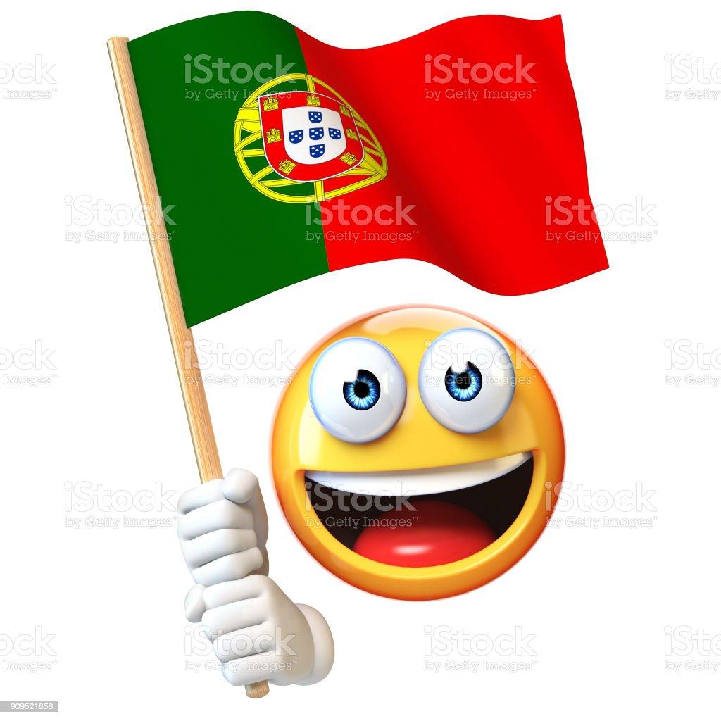 Emoji holding Portuguese flag, emoticon waving national flag of Portugal 3d rendering - fotografia de stock