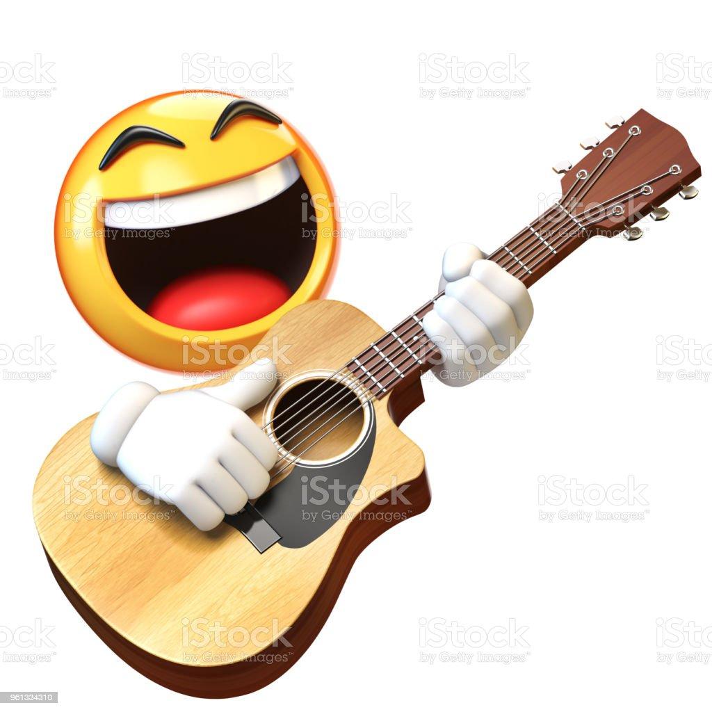 Emoji Gitarre Isoliert Auf Weißem Hintergrund Emoticon Gitarrist ...