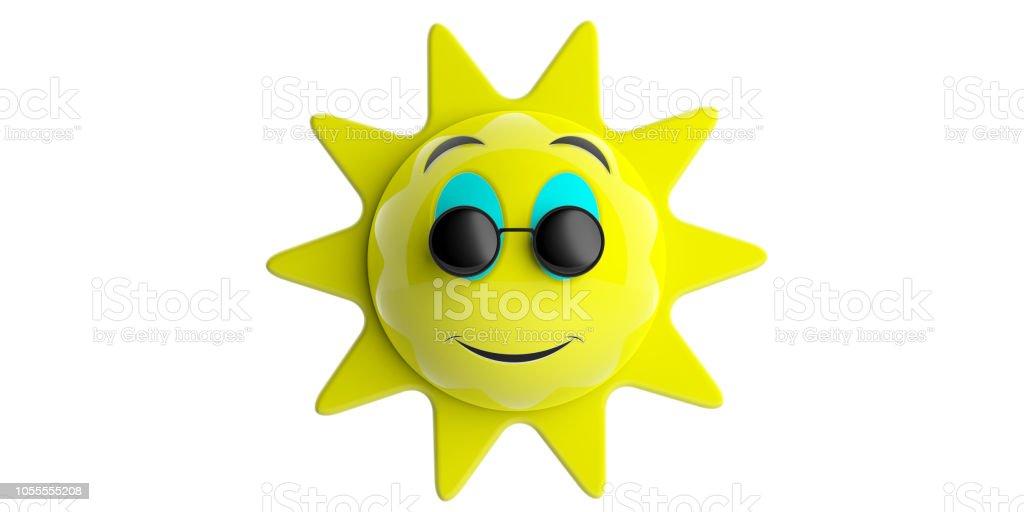 c11d5913deb38c Emoji Zon Geel Met Zwarte Ronde Zonnebril Glimlachen Knipsel ...