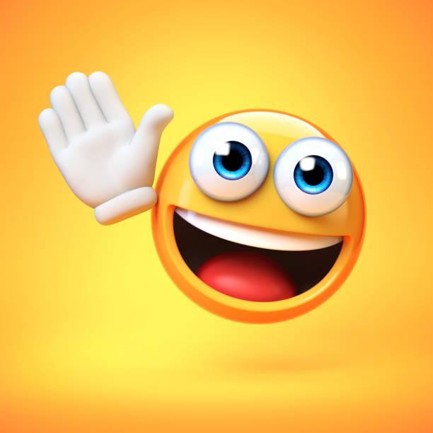 Emoji waving with one hand isolated on yellow background, good bye emoticon 3d rendering stock photo
