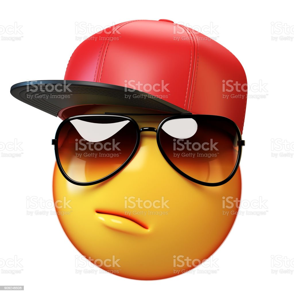 Emoji wearing baseball cap isolated on white background, emoticon with hat 3d rendering stock photo