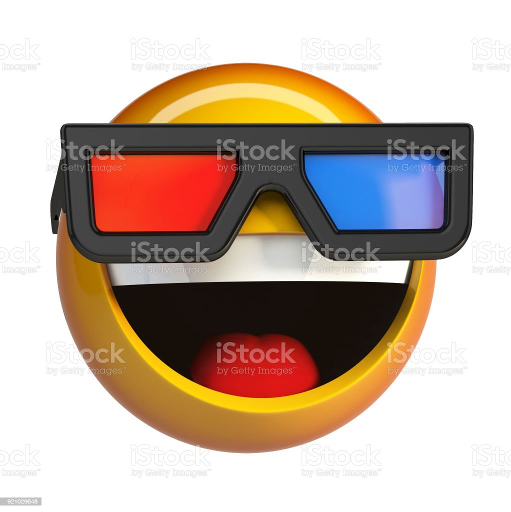 Emoji with 3d cinema glasses, emoticon watching 3d movie. stock photo