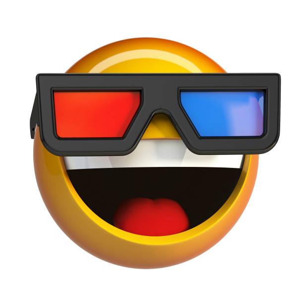 Emoji with 3d cinema glasses, emoticon watching 3d movie. stock photo