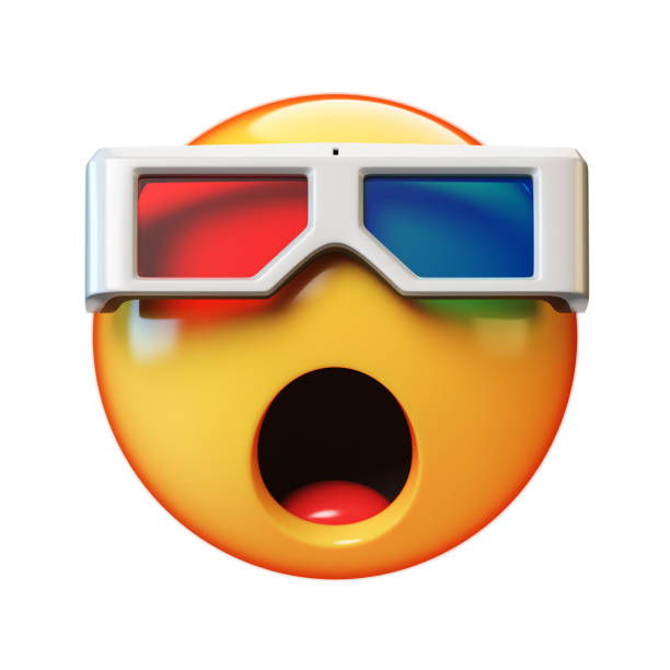 Emoji with 3d glasses isolated on white background, emoticon watching 3d movie, 3d rendering stock photo