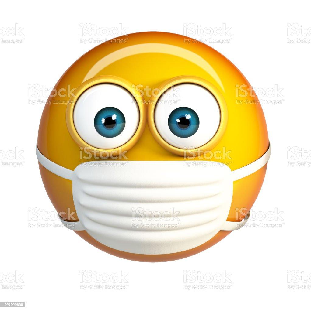Emoji with Hygienic Mask. Surgical Mask Face Emoticon. stock photo